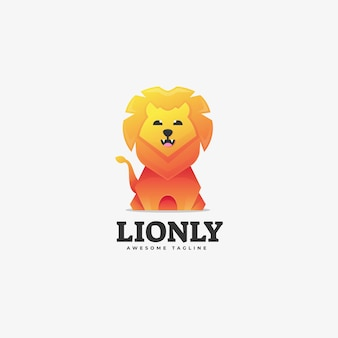 Modelo de logotipo lion gradient colorful style