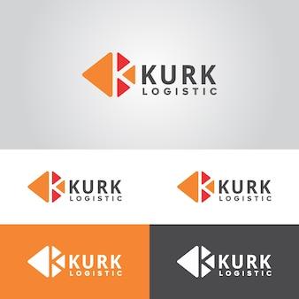 Modelo de logotipo logístico kurk profissional
