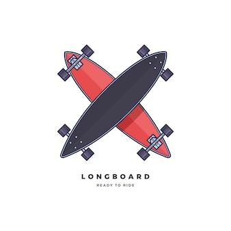 Modelo de logotipo longboard isolado no fundo branco.