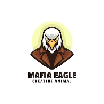 Modelo de logotipo mafia eagle mascot cartoon style