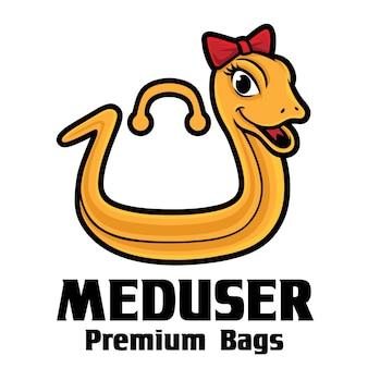 Modelo de logotipo mascote com bolsas de couro de cobra