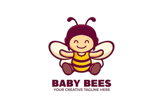 Modelo de logotipo mascote de desenho animado de bebê abelha