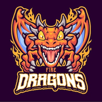 Modelo de logotipo mascote de dragão de fogo