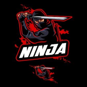Modelo de logotipo mascote ninja