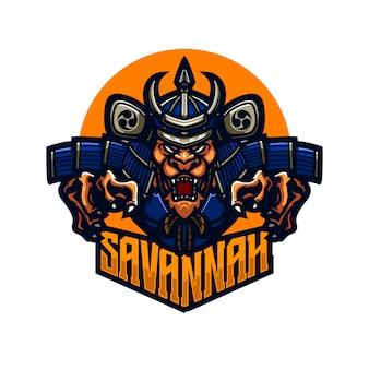 Modelo de logotipo mascote premium de cavaleiro samurai leão