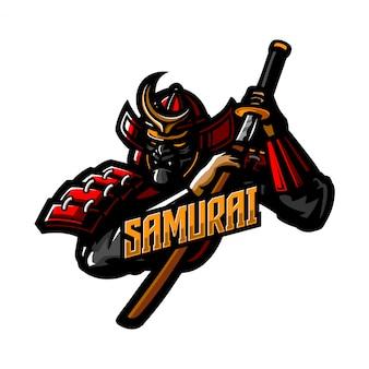 Modelo de logotipo mascote premium de cavaleiro samurai