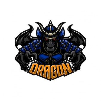 Modelo de logotipo mascote premium de dragão samurai cavaleiro