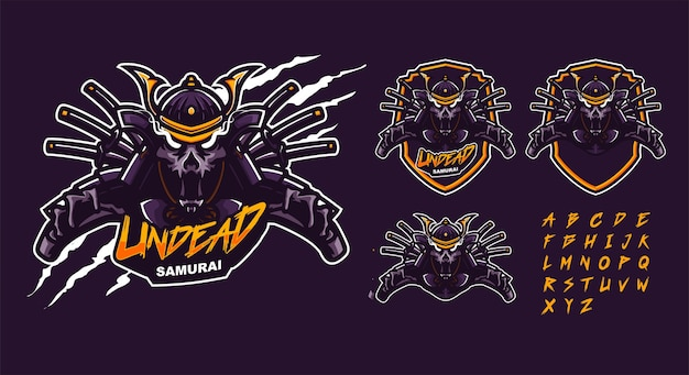 Modelo de logotipo mascote premium de samurai morto-vivo