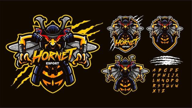 Modelo de logotipo mascote premium de vespão samurai