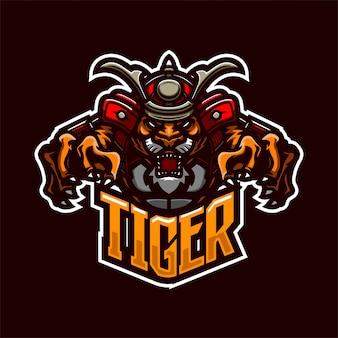 Modelo de logotipo mascote premium do cavaleiro samurai tigre