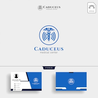 Modelo de logotipo médico com cartão de visita