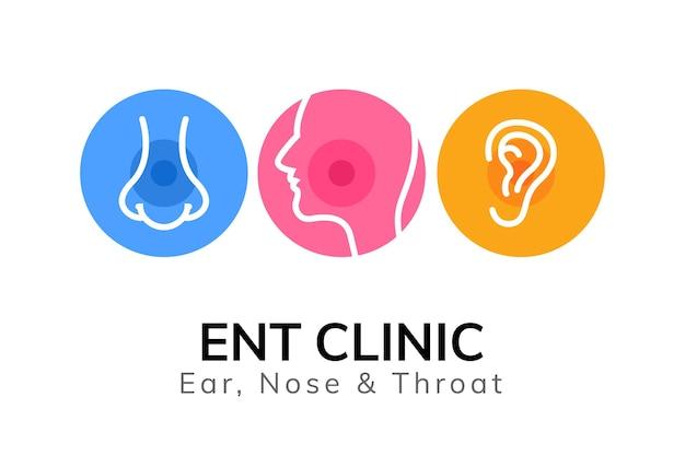 Modelo de logotipo médico ent. clínica do médico orelha nariz garganta. ilustração de otorrinolaringologia saúde bucal.