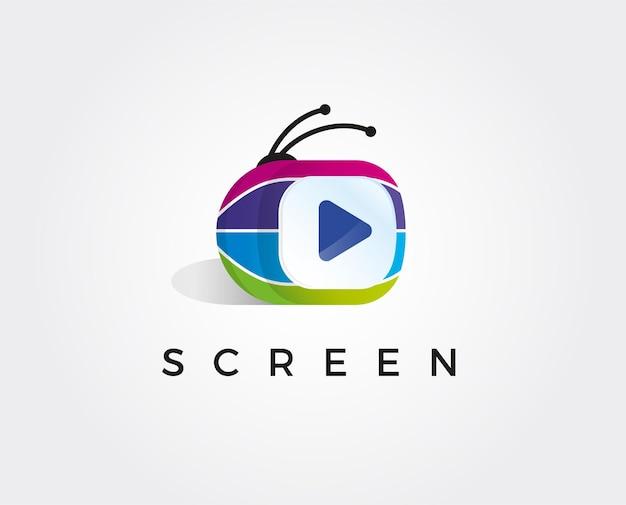 Modelo de logotipo minimal tv media