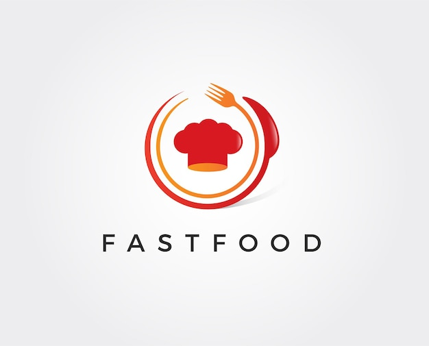 Modelo de logotipo minimalista de fast food