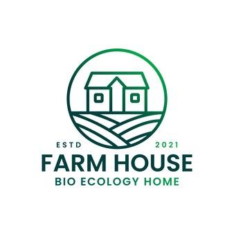 Modelo de logotipo minimalista de fazenda monoline