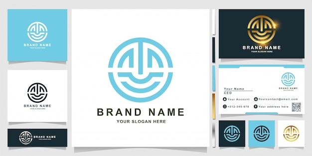 Modelo de logotipo minimalista de linhas, imóveis ou letras como o sorriso com design de cartão de visita