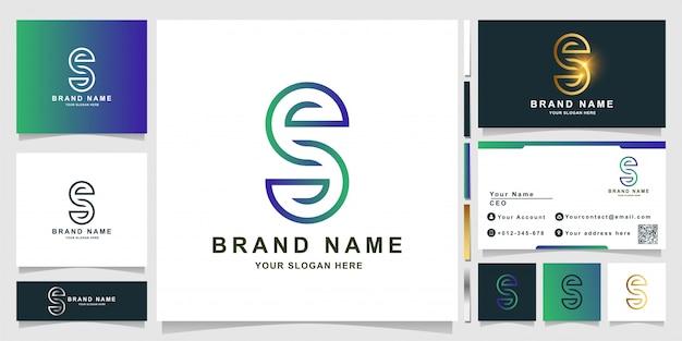 Modelo de logotipo minimalista e elegante com letra s com design de cartão de visita
