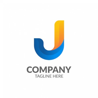 Modelo de logotipo minimalista letra j