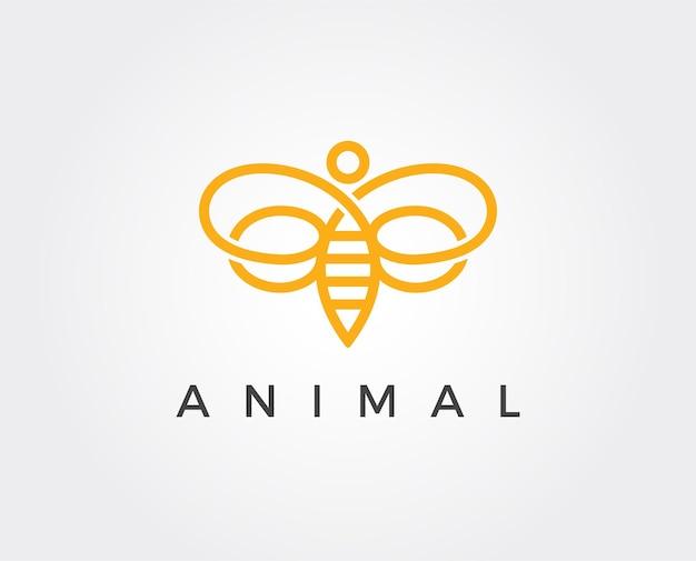 Modelo de logotipo mínimo de abelha