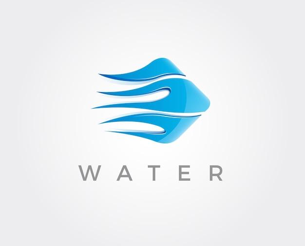 Modelo de logotipo mínimo de água