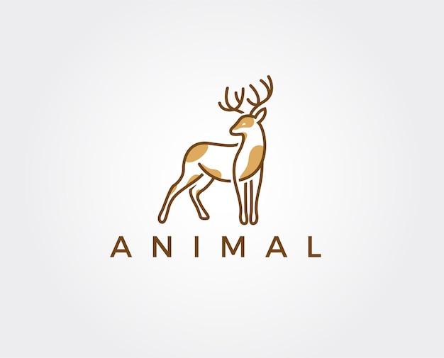 Modelo de logotipo mínimo de cervo