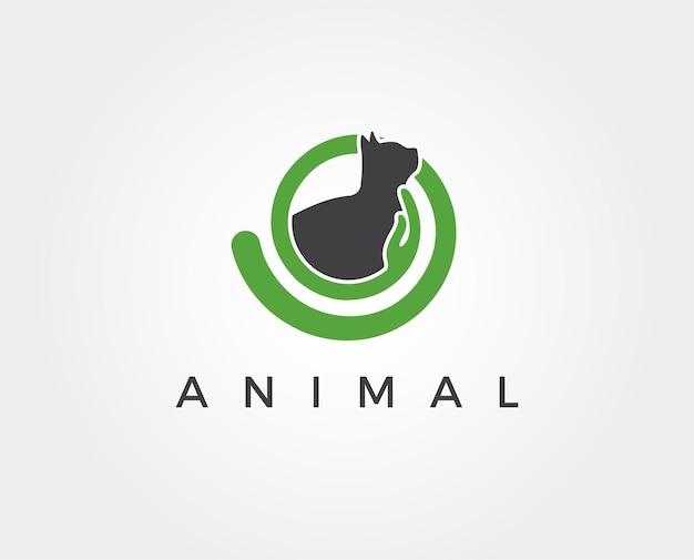 Modelo de logotipo mínimo de gato