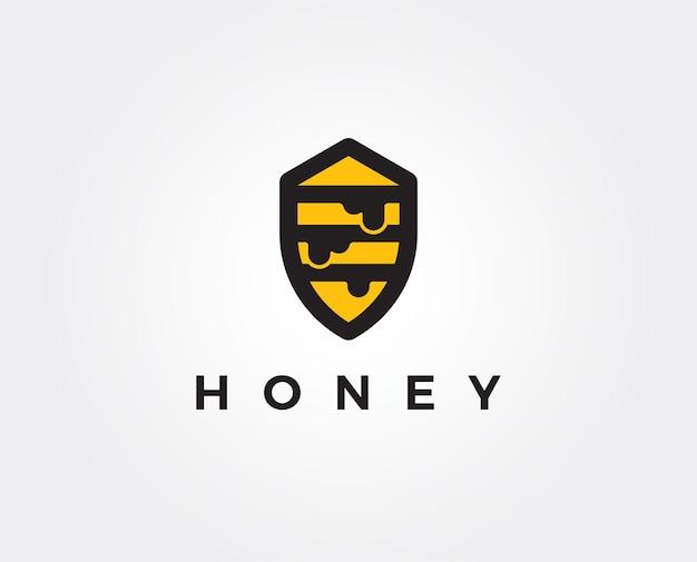 Modelo de logotipo mínimo de mel d