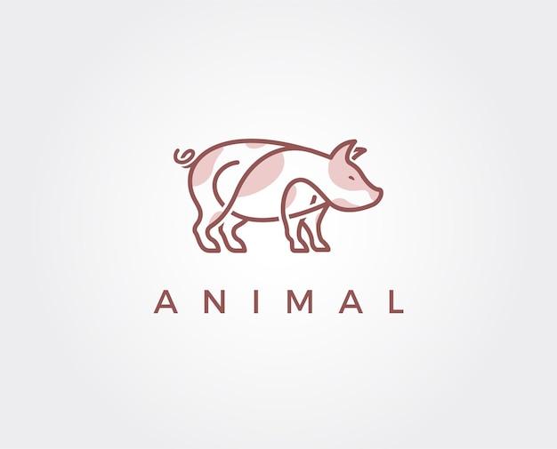 Modelo de logotipo mínimo de porco