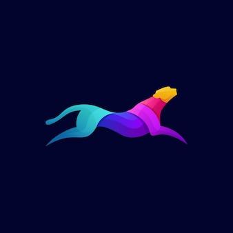 Modelo de logotipo moderno com gradiente colorido tiger run