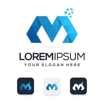 Modelo de logotipo moderno com letra m