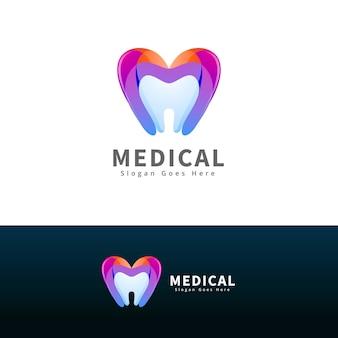 Modelo de logotipo moderno de dentista médico