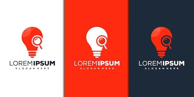 Modelo de logotipo moderno de lupa e lâmpada