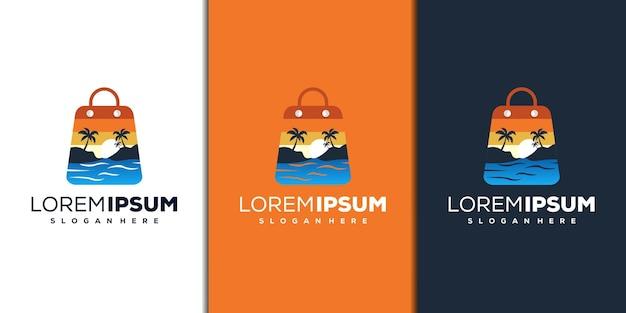 Modelo de logotipo moderno de praia e loja