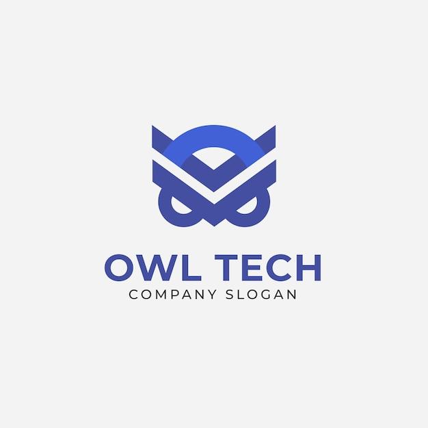 Modelo de logotipo moderno de tecnologia de coruja