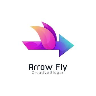 Modelo de logotipo moderno em forma de flecha e gradiente de cor