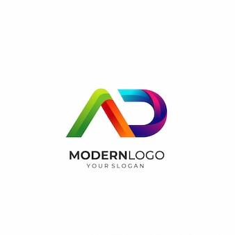 Modelo de logotipo moderno letra ad