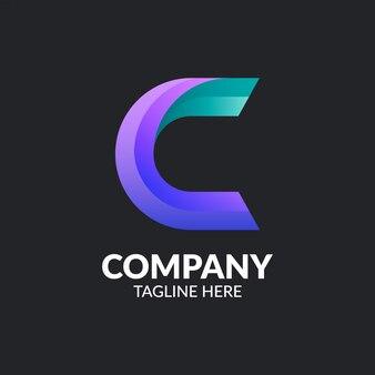 Modelo de logotipo moderno letra c