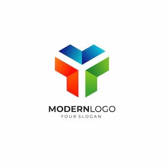 Modelo de logotipo moderno letra y
