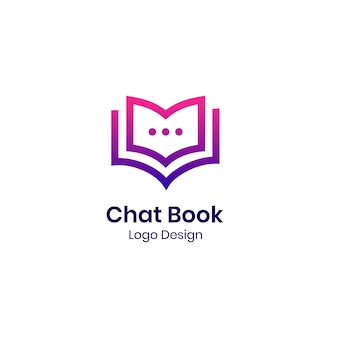 Modelo de logotipo moderno livro bate-papo