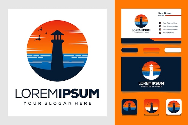 Modelo de logotipo moderno pôr do sol mar e farol design de logotipo e cartão de visita
