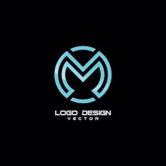 Modelo de logotipo moderno símbolo m