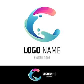 Modelo de logotipo moderno wave letter c