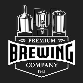 Modelo de logotipo monocromático de cervejaria vintage