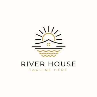 Modelo de logotipo monoline da casa do rio.