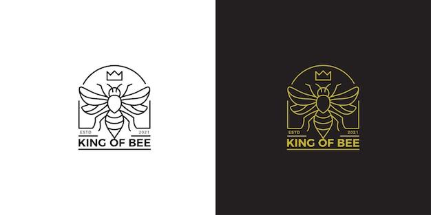Modelo de logotipo monoline da rainha da abelha