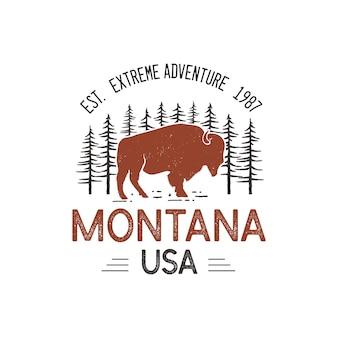 Modelo de logotipo montana eua, emblema de aventura do parque nacional retrô com cabeça de búfalo e árvores.