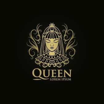 Modelo de logotipo mulher rainha dourada
