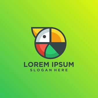 Modelo de logotipo multicolorido papagaio abstrato moderno