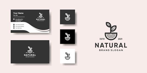 Modelo de logotipo natural com conceito único e design de cartão de visita premium vector