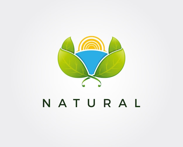 Modelo de logotipo natural mínimo